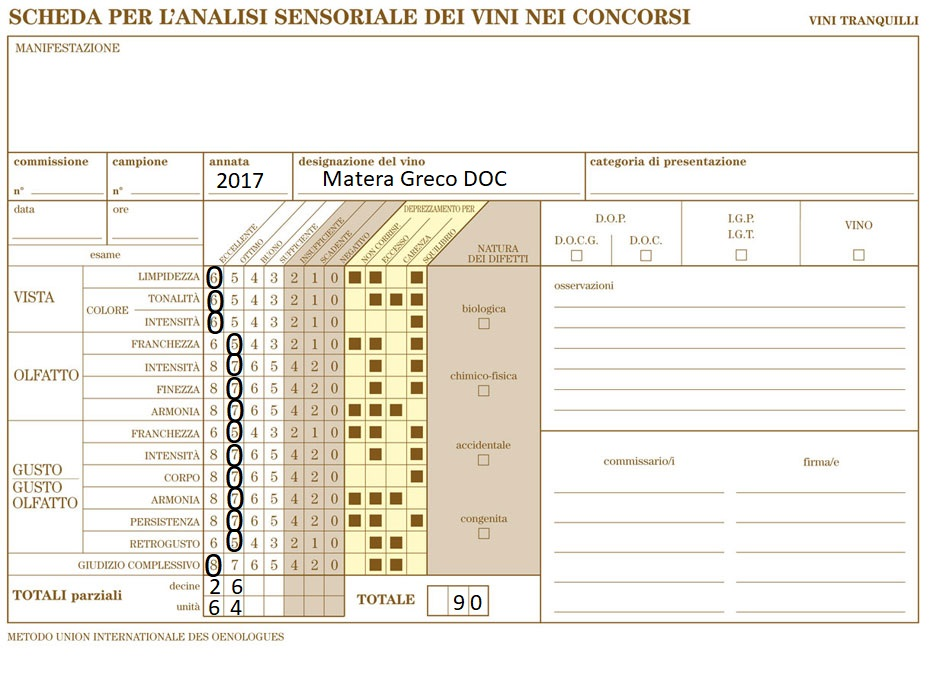Scheda OIV Matera Greco DOC San Basile