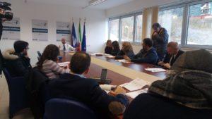 un momento della conferenza stampa di Piero Lacorazza