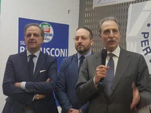 Il candidato Riviello con iul senatore Moles e il candidato Governatore Vito Bardi (ph. Luisa Calza)