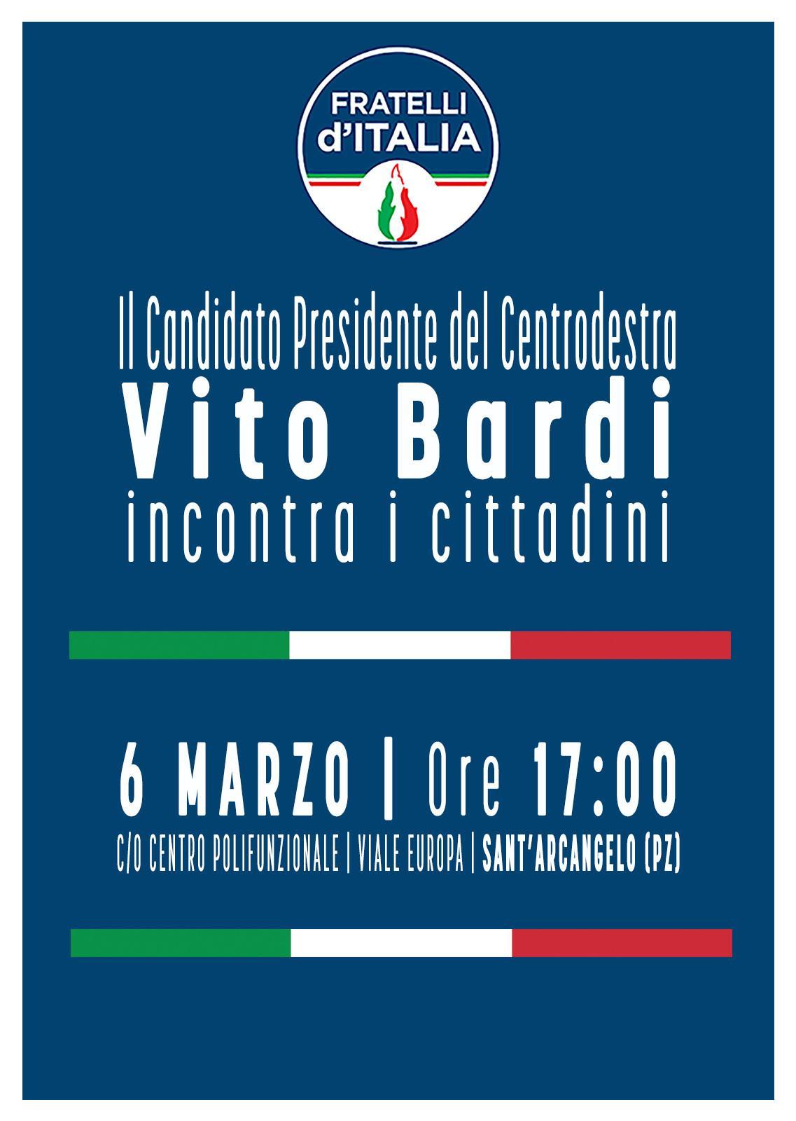 5 marzo Bardi preannuncia l'lincontro con i cittadini della Val d'Agri