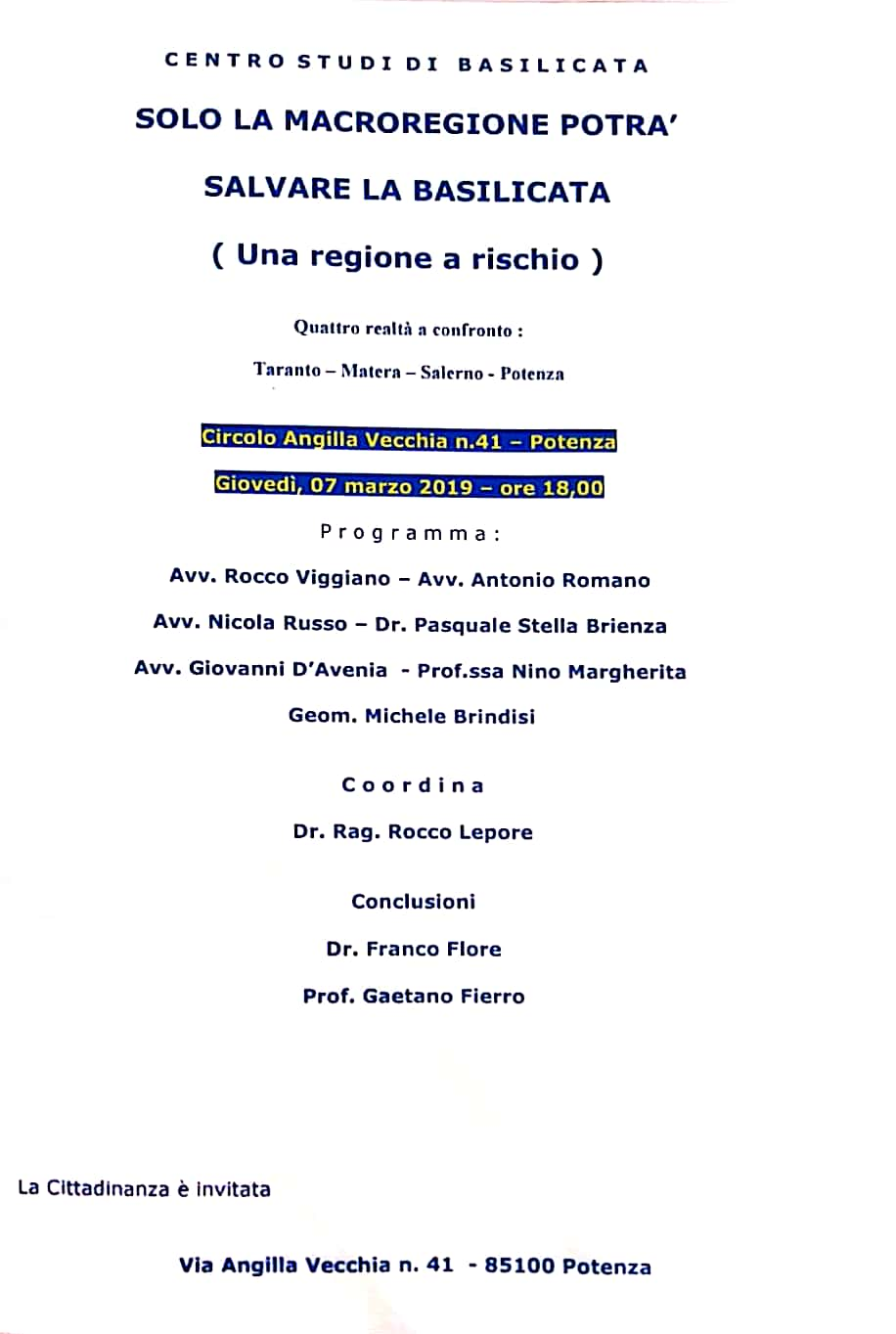 7 marzo l'iniziativa di Gaetano Fierro