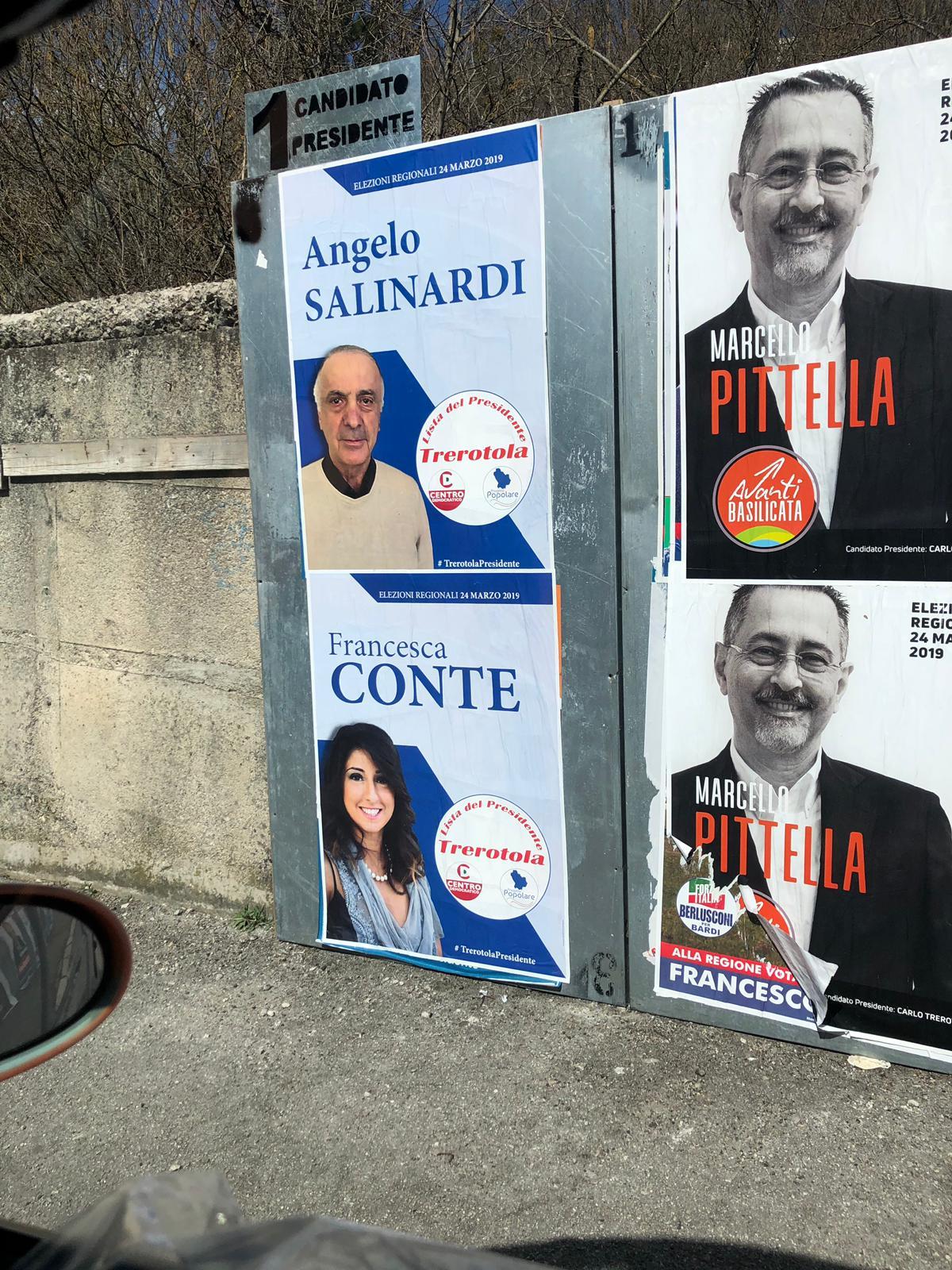 9 marzo manifesti elettorali a Potenza