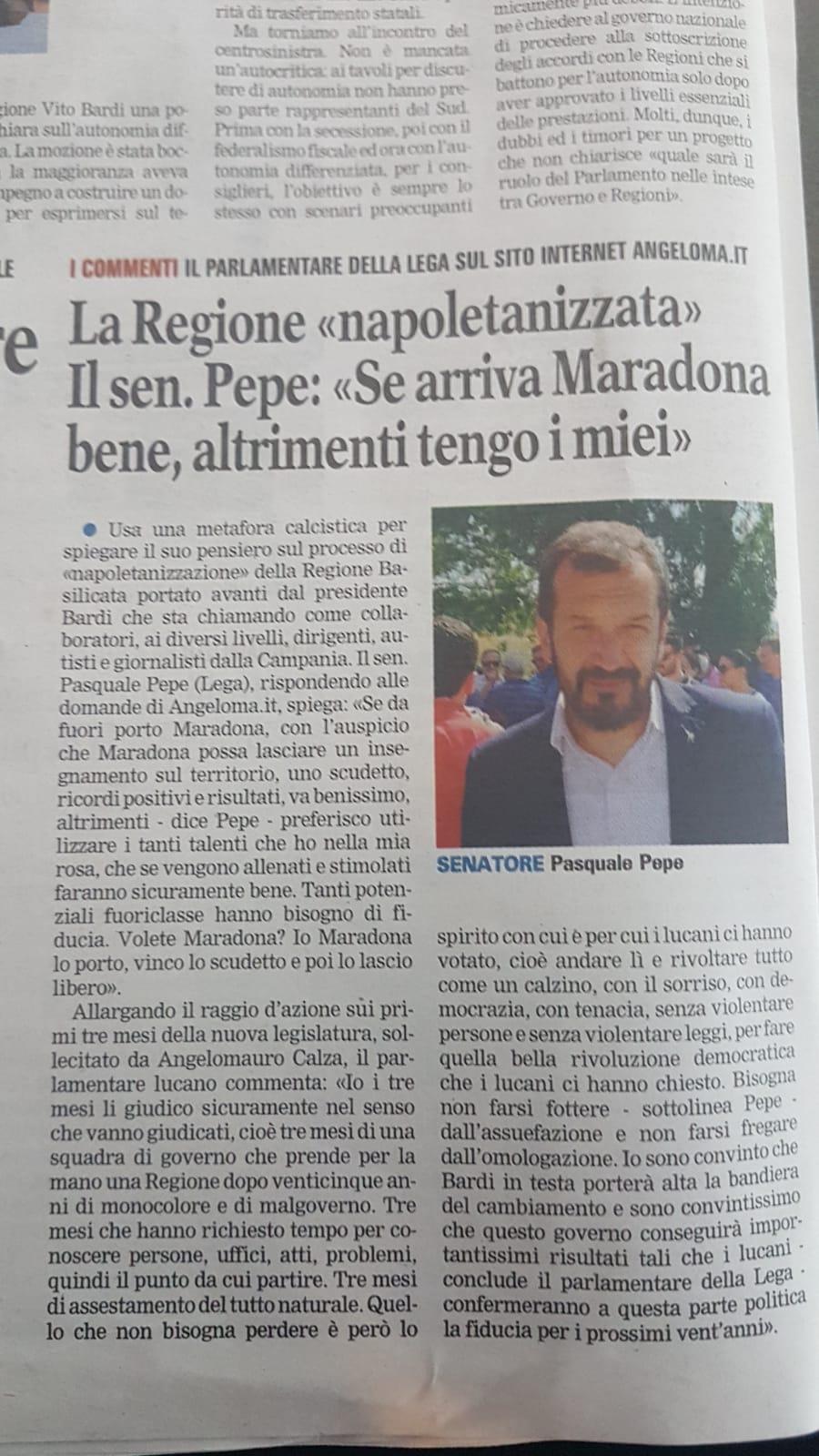 Intervista al Senatore Pasquale Pepe