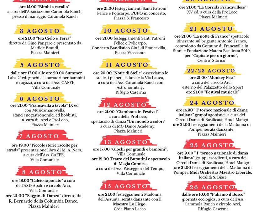 """Gli eventi in programma per l'""""Agosto Francavillese"""""""
