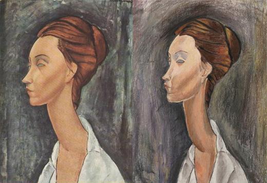"""A sinistra """"Ritratto di donna"""" di Modigliani e a destra la copia realizzata dall'allieva Liliana Paolicelli"""