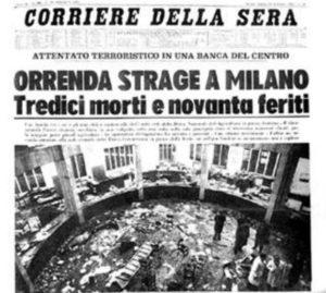 la strage di Piazza Fontana: Un titolo dell'epoca
