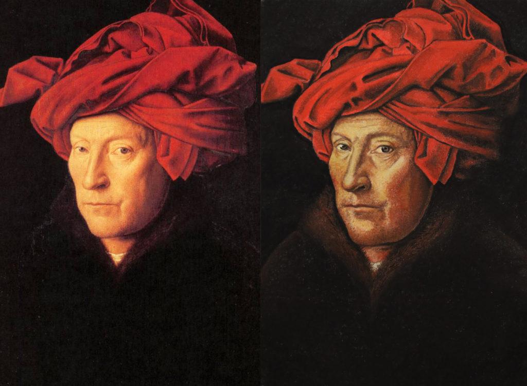 """A sinistra """"Uomo con turbante rosso"""" di Jan van Eyck e a destra la copia realizzata dall'allieva Carmela Giudicepietro, esposta nella mostra """"In Mostra a Bottega"""""""