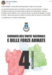 Il messaggio del sindaco di Muro Lucano, Giovanni Setaro
