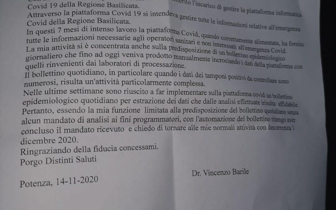 Covid-19: Barile rinuncia all'incarico di responsabile della piattaforma